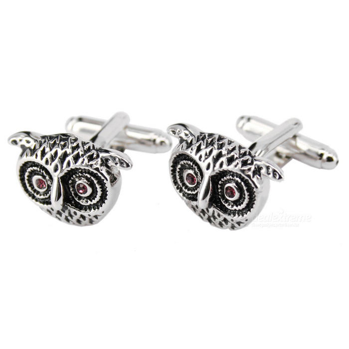 Buy Owl Modelling Men's Cufflinks - Silver + Black (Pair) with Litecoins with Free Shipping on Gipsybee.com