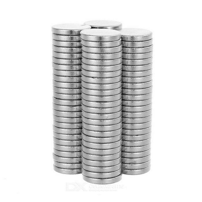 12*2mm Round Strong NdFeB Magnet - Silver (100pcs)