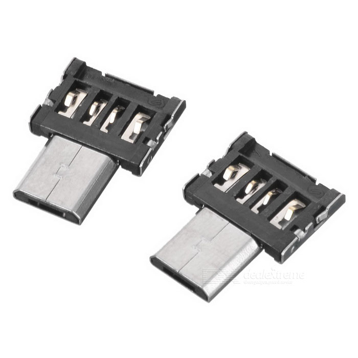 Buy Micro USB Male to USB 2.0 Female OTG Adapter - Black + Silver (2PCS) with Litecoins with Free Shipping on Gipsybee.com