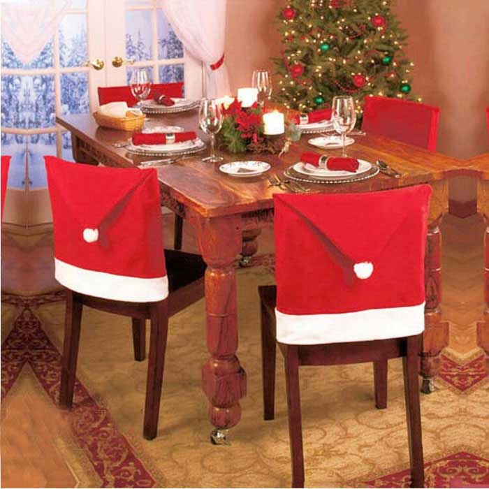 Christmas Hat Style Decorative Chair Cover - Red + White (6PCS)