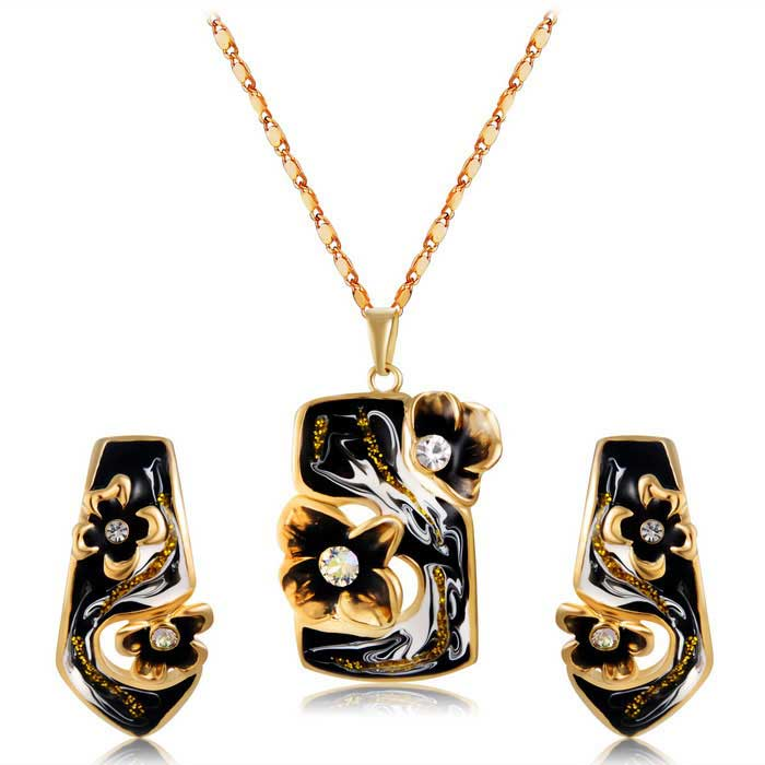 Xinguang Black Oil Painting Earrings + Necklace for Women - Golden