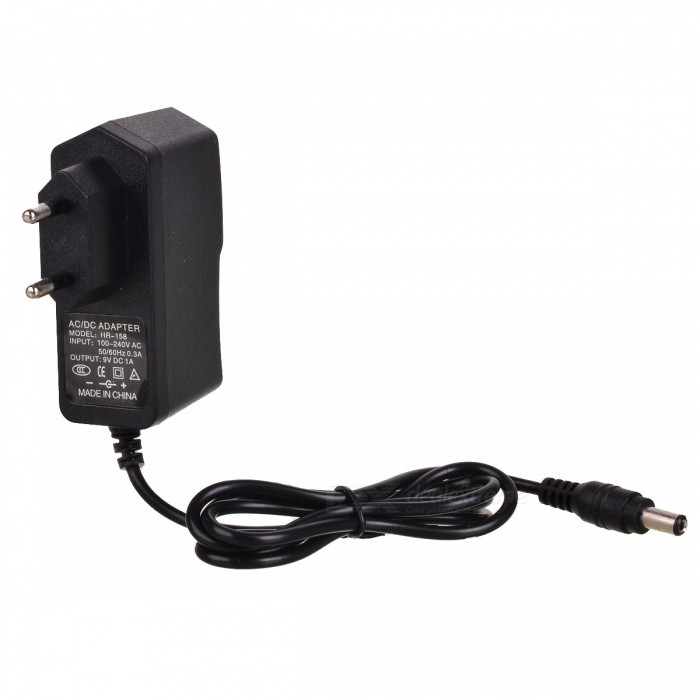 Buy 9V 1A EU Plug Power Adapter Charger - Black (5.5*2.1mm / AC 100~240V) with Litecoins with Free Shipping on Gipsybee.com