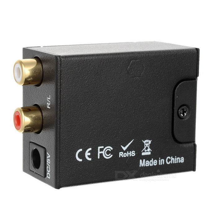 Optical Toslink Coaxial to Analog Audio Converter - Black (EU Plug)AV Adapters And Converters<br>Form ColorBlackMaterialAluminium alloyQuantity1 DX.PCM.Model.AttributeModel.UnitShade Of ColorBlackCable Length0 DX.PCM.Model.AttributeModel.UnitConnectorOthers,RCA/CoaxialPower AdapterEU PlugPower SupplyInput: 100~240V; Output: DC 5V 1APacking List1 x Audio Converter1 x Power Adapter(EU Plug/100-240V/ 113+/-2cm)1 x Toslink Cable(100+/-2cm)1 x English User Manual<br>