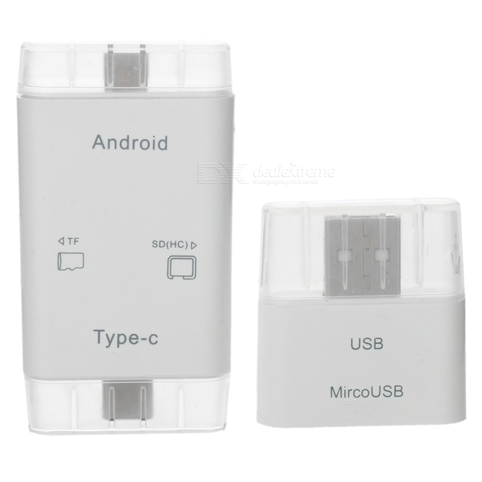 T-635 USB 3.1 Type-C Card Reader Adapter + USB 2.0 Adapter - White