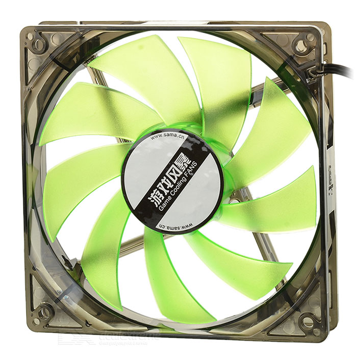 MAIKOU 12cm Computer Cooling Fan w/ Green Light LED - Black + Green