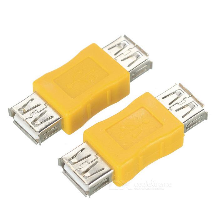 Buy USB 2.0 Female to Female Connector Adapter - Yellow + Silver (2PCS) with Litecoins with Free Shipping on Gipsybee.com