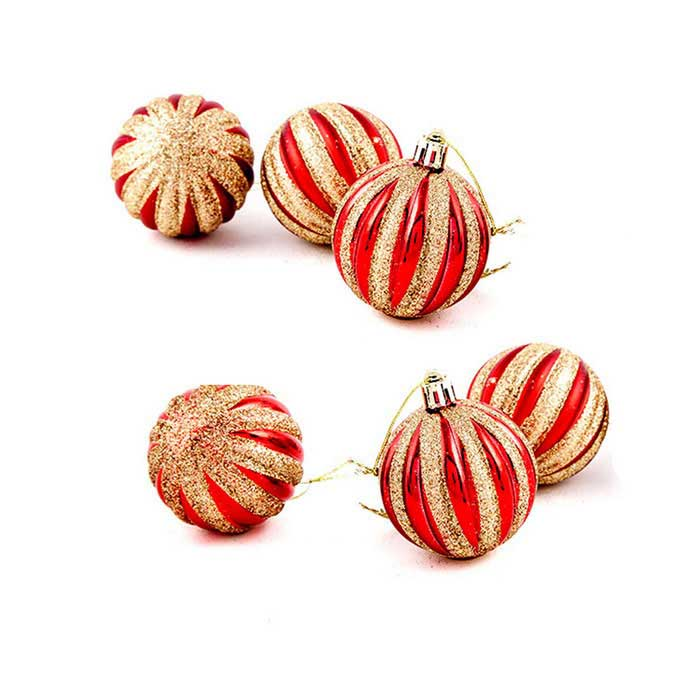 Christmas Tree Ornaments Pumpkin Painted Decorative Balls - Red (6PCS)Christmas Gadgets<br>Form ColorRed + GoldenMaterialPVCQuantity6 DX.PCM.Model.AttributeModel.UnitSuitable holidaysChristmasPacking List6 x Christmas balls<br>