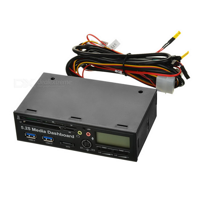 Multifunction Front Drive Panel w/ Carder Reader, SATA , LCD - Black