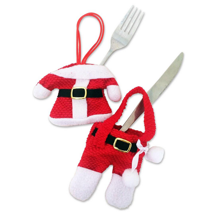 Santa Paragraph Cutlery Cover Clothes + Pants Set - Red + White