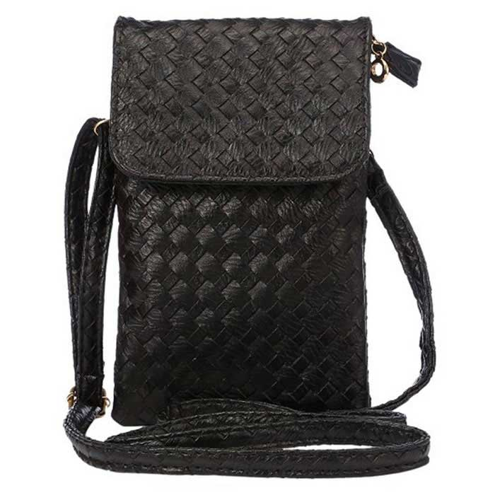 Universal Woven PU Shoulder Bag for IPHONE / Samsung - Black
