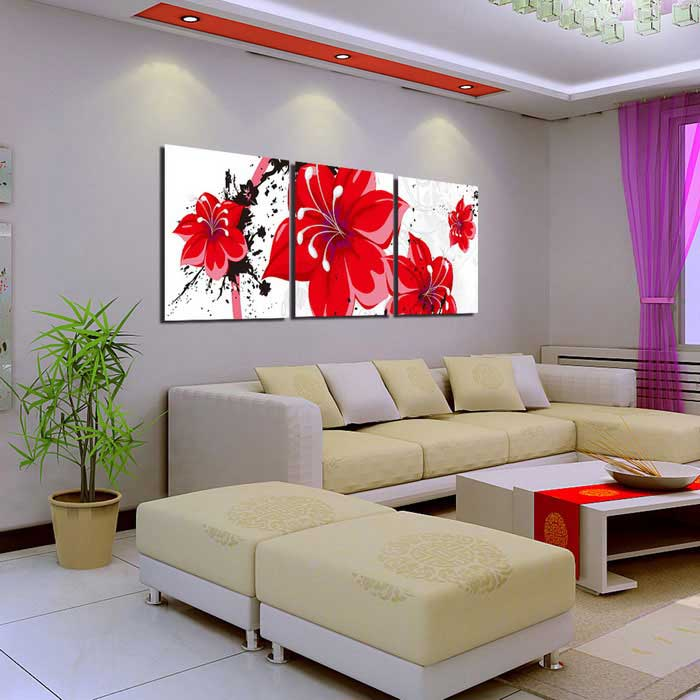 Bizhen Red Flowers Painting Canvas Wall Art Pictures - Red (3PCS)Oil Paintings<br>Model30005Form  ColorRedShade Of ColorRedMaterialCanvasQuantity1 DX.PCM.Model.AttributeModel.UnitDimension59.1 x 19.7 DX.PCM.Model.AttributeModel.UnitPacking List3 x Paintings<br>