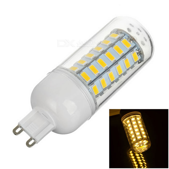 G6 10W 460lm 56-SMD 5730 Warm White Light Corn Lamp (AC 220~240V)G9<br>Form  ColorTransparent + White + Multi-ColoredColor BINWarm WhiteMaterialAluminum + plasticQuantity1 DX.PCM.Model.AttributeModel.UnitPower10WRated VoltageAC 220-240 DX.PCM.Model.AttributeModel.UnitConnector TypeG9Emitter TypeOthers,5730 SMD LEDTotal Emitters56Theoretical Lumens600 DX.PCM.Model.AttributeModel.UnitActual Lumens460 DX.PCM.Model.AttributeModel.UnitColor Temperature3000KDimmableNoWavelength360Packing List1 x Lamp<br>