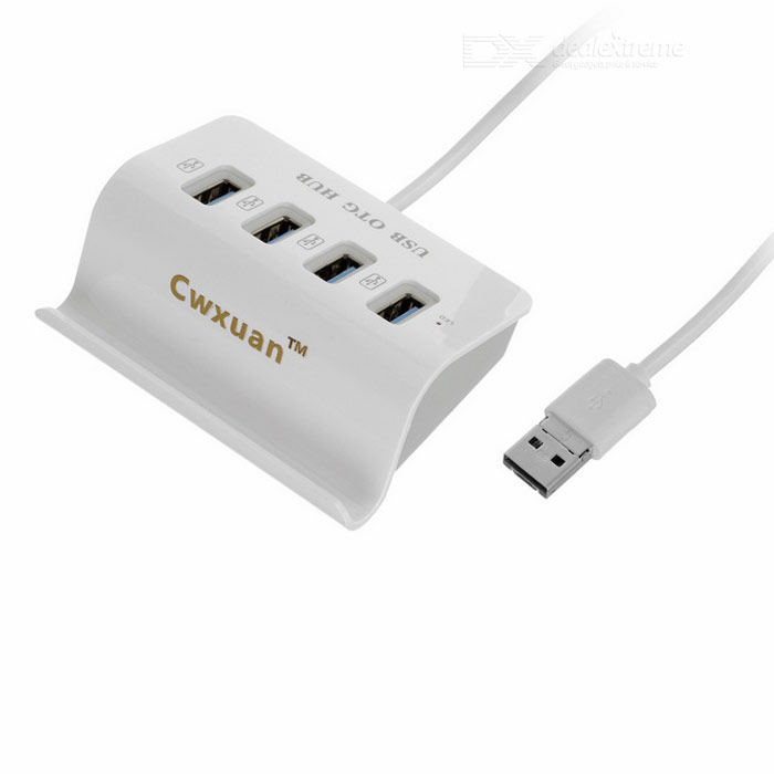 Cwxuan USB 2.0 / Micro USB OTG 4-Port USB HUB w/ Holder - WhiteUSB Hubs &amp; Switches<br>Form ColorWhiteQuantity1 DX.PCM.Model.AttributeModel.UnitMaterialPlasticShade Of ColorWhiteIndicator LightYesWith Switch ControlNoInterfaceUSB 2.0,Others,Micro USBTransmission Rate480 DX.PCM.Model.AttributeModel.UnitPowered ByUSBSupports SystemWin xp,Win 2000,Win vista,Win7 32,Win7 64,Win8 32,MAC OS X,IOS,Linux,Android 4.xPacking List1 x HUB (32cm)<br>