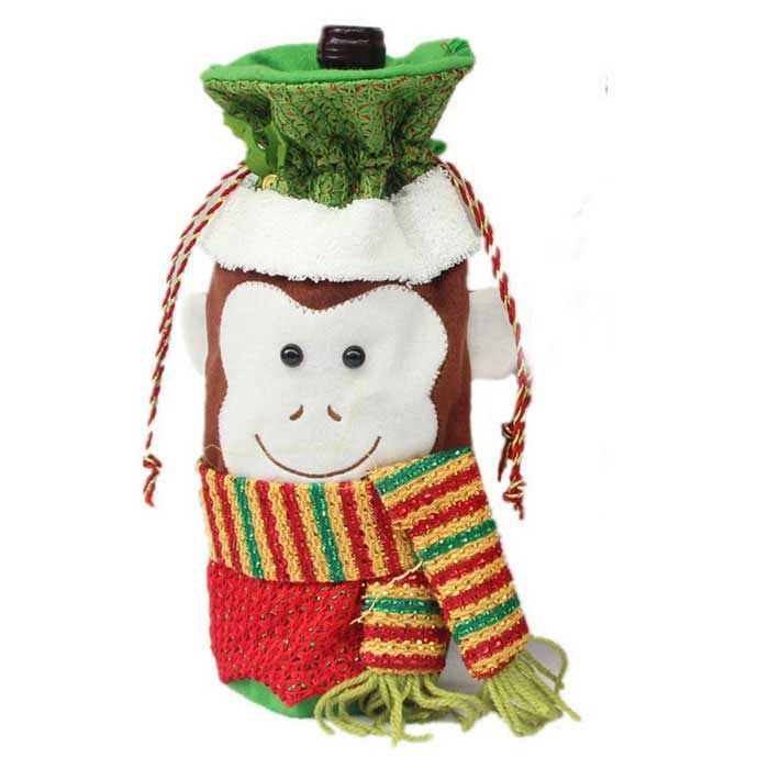 Monkey Shape Christmas Red Bottle Bag Candy Bag - Green