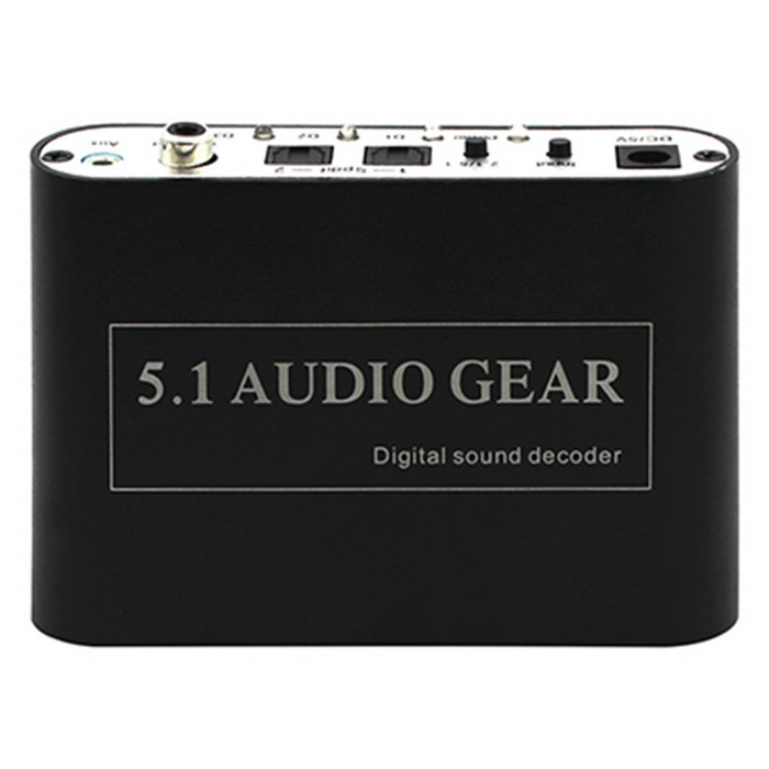 USB Digital DTS/AC3 5.1-Channel Analog Audio Dolby Decoder - BlackOther Accessories<br>Form ColorBlackQuantity1 DX.PCM.Model.AttributeModel.UnitMaterialAluminium alloyCompatible BrandOthers,USB 5.1 audio decoderOther Featuresa. Optical input interface: XBOX360, PS3, STB, DVD player, Blue-ray DVD players, HD player<br>b. Coaxial input interface: Can be connected to computer PC sound card or notebook coaxial output, high-definition players, set-top boxes, DVD player, etc.<br>c. AUX input interface: Connect to any group of LPCM stereo signals (such as computer audio, MP3/4 player audio)<br>d. Three output channels: Connect to home theater or a 5.1-channel power amplifier (FL/FR if 2.1 channel)<br>e. USB output: Supply 5V power to 5.1-channel headphone.Packing List1 x USB 5.1-channel audio decoder1 x Optical cable (100cm)1 x Power adapter (DC 5V, EU plug)1 x English user manual<br>