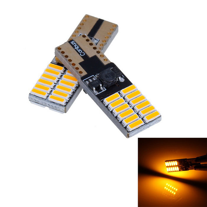 T10 4.5W 360lm Yellow 24-SMD LED Car Width Lamp / Turn Signal Light