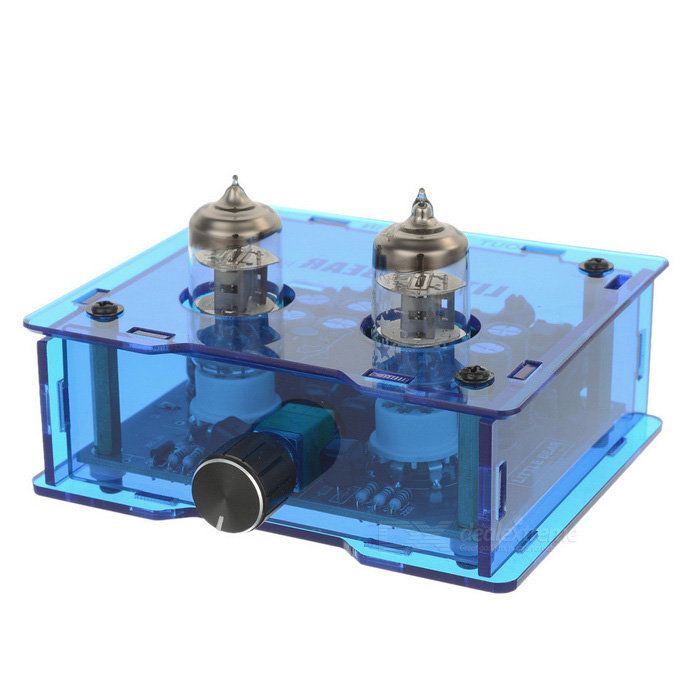 6J1 Electronic Tube Valve HiFi Amplifier - BlueAmplifiers<br>Form ColorBlueMaterialAcrylic + PVCQuantity1 DX.PCM.Model.AttributeModel.UnitShade Of ColorBlueSNR&gt;=90dBSensitivityTHDFrequency Response20~500HzImpedance47 DX.PCM.Model.AttributeModel.UnitInterfaceOthers,RCARadio TunerNoPower Supply220VPower AdapterUS PlugsOther FeaturesSupports the original design of CD/VCD/DVD/MP3X-10D and more stable; The efficiency of the electronic tubes has been increased by 10%; 12V AC input has been treated by circuit to supply the voltage 6J1 electronic tubes need and the power light filament need; Power this amplifier, and then the voltage steps up from 0 while the tubes are being heated; When the tubes finish heating, the voltage also finish boosting; 8pcs of 470uF capacitor filters are very clean, so no noise will be caused.<br>Connecting method: CD - preceding stage P5-1  amplifier - hornPacking List1 x Amplifier1 x Power adapter (142+/-2cm-cable)3 x Valves1 x EU plug adapter4 x Copper cylinders1 x Protective case<br>
