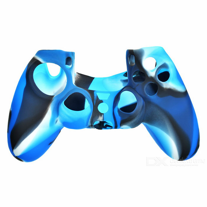 Protective Silicone Case for PS4 GamePad w/ 4 Rocker Key Caps - Blue