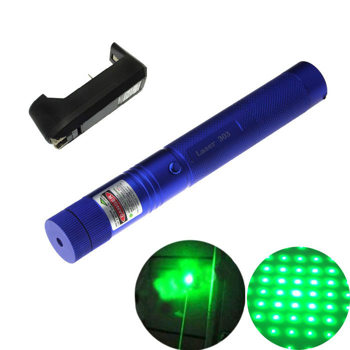 303 5mW Green Light Laser Pointer Flashlight + US Plugs Charger - BlueLaser Pointer<br>Form  ColorBlueModel303Quantity1 setMaterialaluminium alloyLaser PowerWave Length532 nmLaser ColorGreenExcitation ModeOptical PumpWave Band Range1000-8000 metersWorking modeContinuous laserWorking Voltage   3.7-4.2 VSpot Mode (Spot size)Battery1 x 18650(not included)Packing List1 x Laser pointer2 x Keys1 x US plug charger (AC110-220V)<br>