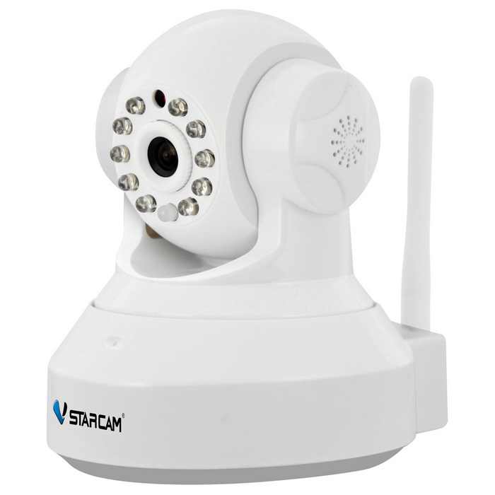 VSTARCAM 960P 1.3MP Wi-Fi Security IP Camera w/ TF - White (UK Plug)IP Cameras<br>Form  ColorWhitePower AdapterUK PlugModelC37AMaterialABSQuantity1 DX.PCM.Model.AttributeModel.UnitImage SensorCMOSImage Sensor SizeOthers,1/4inchPixels1280 x 960PLens3.6mmViewing AngleOthers,75 DX.PCM.Model.AttributeModel.UnitVideo Compressed FormatH.264/JPEGPicture Resolution960p (1280 x 960) / VGA(640 x 360) / QVGA(320 x 180)Frame Rate15fpsInput/OutputBuilt-in microphone / AudioAudio Compression FormatOthers,ADPCMMinimum Illumination0.3 DX.PCM.Model.AttributeModel.UnitNight VisionYesIR-LED Quantity10Night Vision Distance10 DX.PCM.Model.AttributeModel.UnitWireless / WiFi802.11 b / g / nNetwork ProtocolTCP,IP,HTTP,SMTP,DHCP,DDNSSupported SystemsWindows 2000,2003,XP,Vista,7Supported BrowserIE 6.0 and aboveSIM Card SlotNoOnline Visitor4IP ModeDynamic,StaticMobile Phone PlatformAndroid,iOSFree DDNSYesIR-CUTYesBuilt-in Memory / RAMNoLocal MemoryYesMemory CardTFMax. Memory Supported64GBMotorYesRotation AngleHorizontal: 355 degree / Vertical: 120 degreeSupported LanguagesEnglish,Simplified Chinese,Portuguese,Spanish,Korean,FrenchWater-proofNoRate Voltage5VRated Current2 DX.PCM.Model.AttributeModel.UnitCertificationCE ROSH FCCPacking List1 x Camera1 x AC power adapter(UK plug / 100~240V / 180cm-cable)1 x Bracket 1 x Pack of installation accessories1 x English user manual<br>