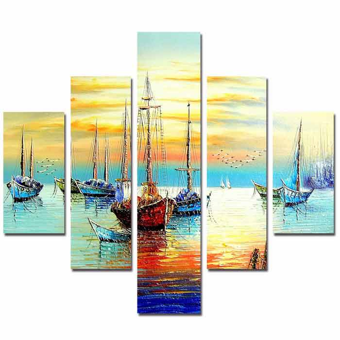 Buy Bizhen Harbour Painting Canvas Wall Decor Murals - Light Blue (5PCS) with Litecoins with Free Shipping on Gipsybee.com
