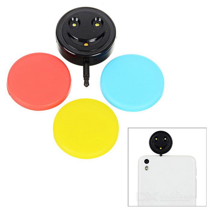 Selfie Flash Light w/ V8 Micro USB Cable for Phone - Black+Multi-Color