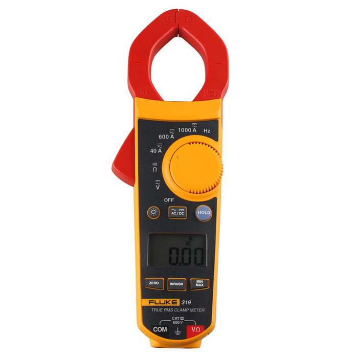 FLUKE F319 1.6 LCD Digital Clamp Meter - Yellow + RedMultimeters<br>Form  ColorYellow + Red + Multi-ColoredModelF319Quantity1 DX.PCM.Model.AttributeModel.UnitMaterialABSScreen Size1.6 DX.PCM.Model.AttributeModel.UnitDC Voltage600V 1%±4AC Voltage600V 1.5%±5DC Current40.00A 1.6%±6<br>600A/1000A  1.5%±5AC Current40A(50-60Hz) 1.6%±6<br>40A(60-500Hz) 2.5%±8<br><br>600/1000A(50-60Hz) 1.5%±5<br>600/1000A(60-500Hz) 2.5%±5Resistance400.0/4000 1%±5Frequency Accuracy5.0 - 500.0 Hz 0.5%±5Frequency TestYesPowered ByAAA BatteryBattery Number3Battery included or notYesPacking List1 x Fluke 319 Clamp Meter1 x Chinese / English User Manual2 x Test Leads (Cable 120cm)3 x AAA Batteries1 x Carrying Case<br>