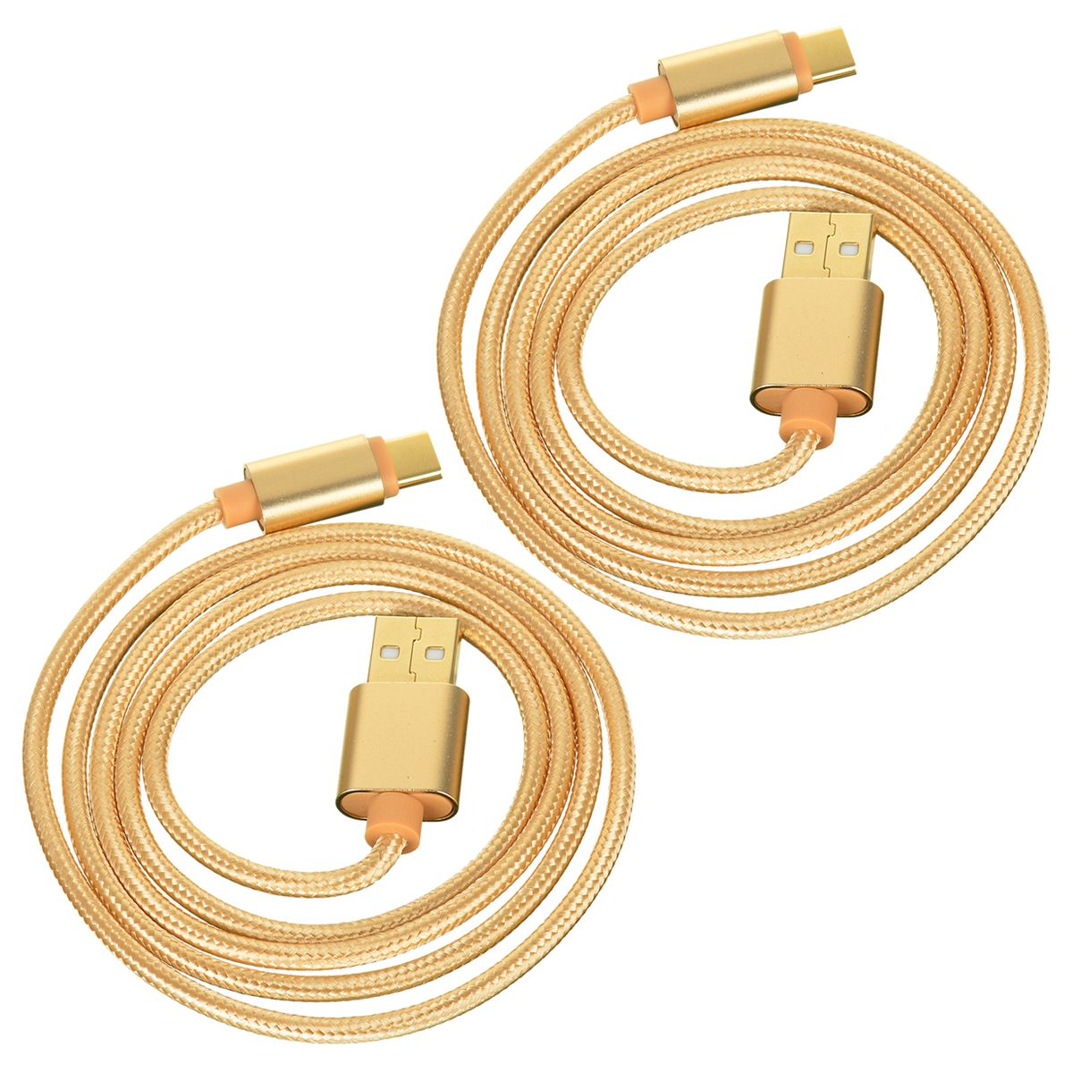 USB 3.1 Type C Braided Data & Charging Cable - Golden (1m / 2PCS)