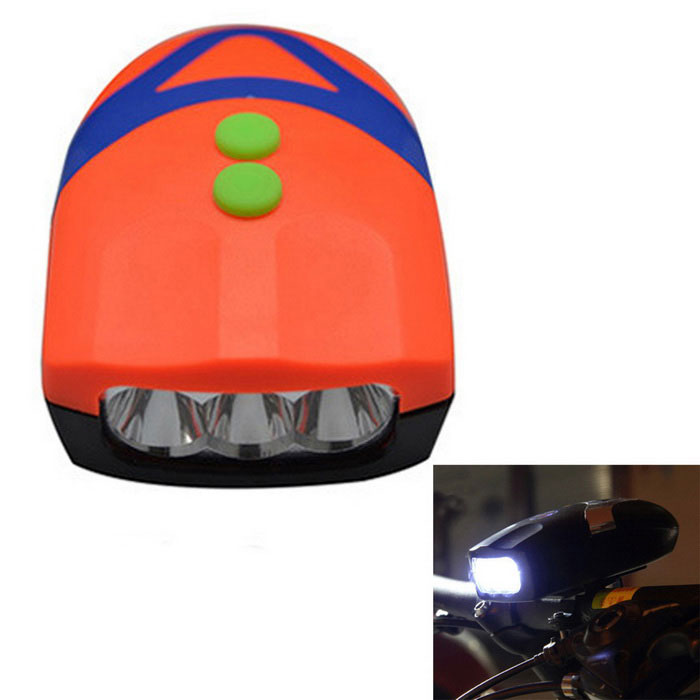 3-Mode 3-LED Bicycle Neutral White + Electronic Bell - Orange