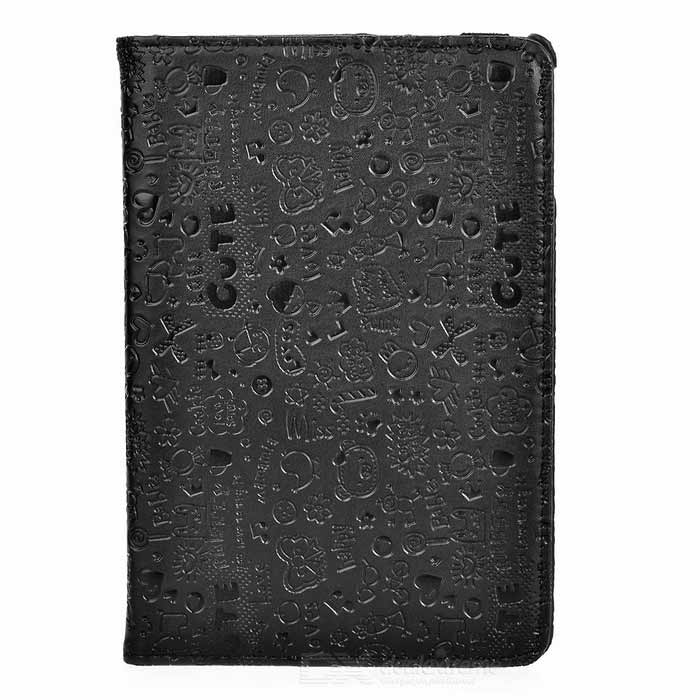 Patterned Protective PU Case w/ Rotary Stand for IPAD MINI 4 - BlackTablet Cases<br>Form  ColorBlackQuantity1 DX.PCM.Model.AttributeModel.UnitShade Of ColorBlackMaterialPUCompatible ModelIPAD MINI 4Compatible BrandOthers,APPLETypeLeather CasesStyleCasualCompatible SizeOthers,7.9Packing List1 x Case<br>
