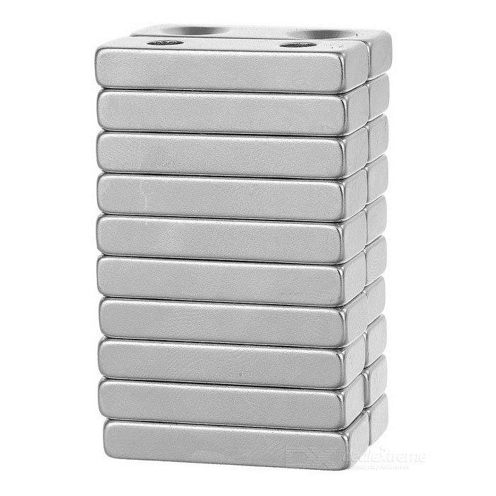 30*10*5mm Rectangular NdFeB Magnet w/ Double Holes - Silver (20PCS)