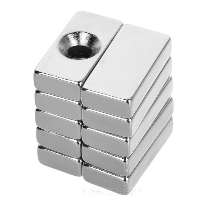 20*10*5mm NdFeB Magnets with &amp; without Hole - Silver (10PCS)Magnets Gadgets<br>Form  ColorSilverMaterialNdFeBQuantity1 DX.PCM.Model.AttributeModel.UnitNumber10Suitable Age 8-11 years,12-15 years,Grown upsPacking List5 x Magnets with hole5 x Magnets without hole<br>
