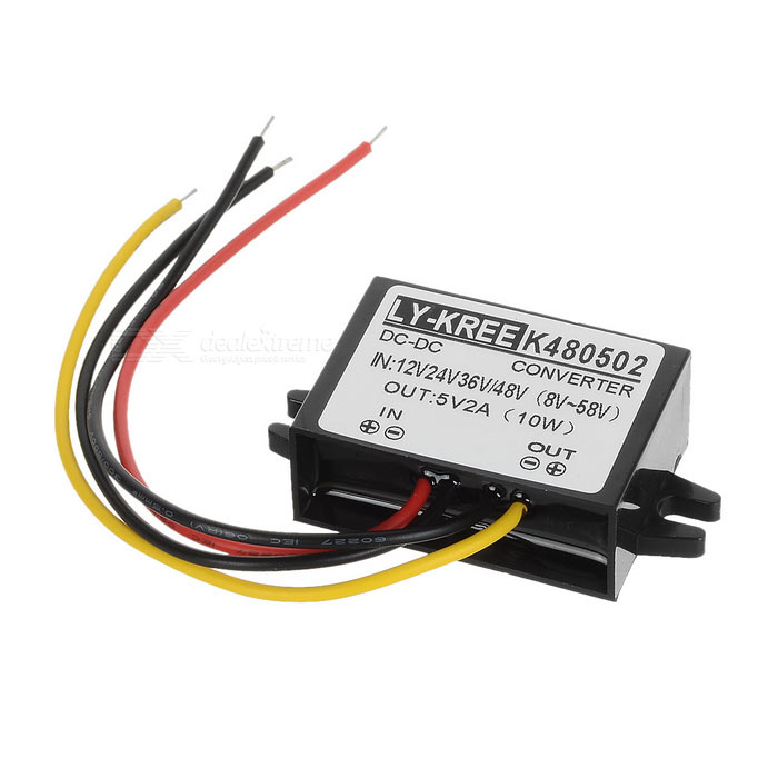 Buy DC 12/24/36/48V to 5V Power Converter for DVD / Car GPS & More - Black with Litecoins with Free Shipping on Gipsybee.com