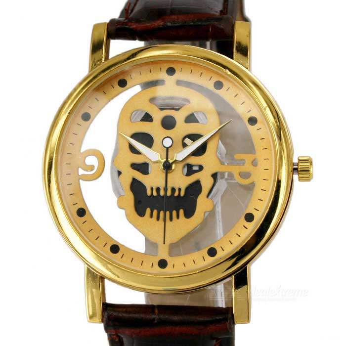 Skull Dial Artificial Leather Band Analog Quartz Watch - GoldenQuartz Watches<br>Form ColorGoldenQuantity1 DX.PCM.Model.AttributeModel.UnitShade Of ColorGoldCasing MaterialAlloyWristband MaterialArtificial leatherSuitable forAdultsGenderUnisexStyleWrist WatchTypeFashion watchesDisplayAnalogMovementQuartzDisplay Format12 hour formatWater ResistantFor daily wear. Suitable for everyday use. Wearable while water is being splashed but not under any pressure.Dial Diameter4 DX.PCM.Model.AttributeModel.UnitDial Thickness1.1 DX.PCM.Model.AttributeModel.UnitWristband Length26 DX.PCM.Model.AttributeModel.UnitBand Width1.8 DX.PCM.Model.AttributeModel.UnitBattery1 x 377Packing List1 x Watch<br>