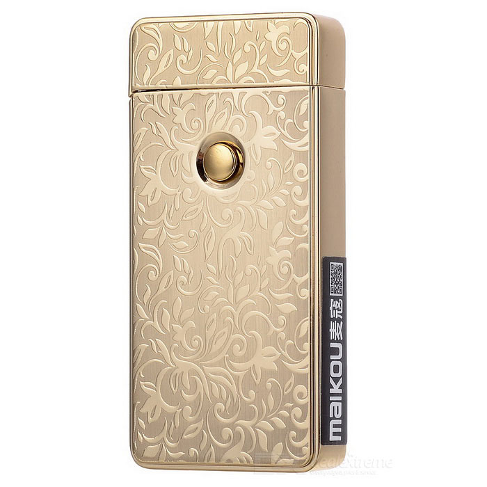 MAIKOU MK-001 USB Rechargeable Electronic Cigarette Lighter - GoldenOther Lighters<br>Form  ColorGoldenModelMK-001MaterialZinc alloyQuantity1 DX.PCM.Model.AttributeModel.UnitShade Of ColorGoldTypeUSBFlame ColorPurpleWindproofYesFuelRechargeable batteryPower Supply350mAh li-ion batteryCharging Time2~3 DX.PCM.Model.AttributeModel.UnitPacking List1 x Lighter1 x USB cable (15cm)<br>