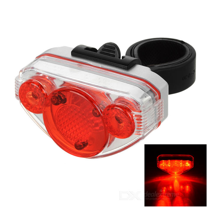 6-Mode 5-LED 10lm Red Light Bike Taillight - Red (2 x AAA)Bike Light<br>Form  ColorRed + SilverQuantity1 DX.PCM.Model.AttributeModel.UnitMaterialABSEmitter BrandOthersLED TypeOthersEmitter BINOthersColor BINRedNumber of Emitters5Input Voltage2.2~3 DX.PCM.Model.AttributeModel.UnitBattery2 x AAABattery included or notNoCurrent0.03 DX.PCM.Model.AttributeModel.UnitTheoretical Lumens20 DX.PCM.Model.AttributeModel.UnitActual Lumens10 DX.PCM.Model.AttributeModel.UnitRuntime8~12 DX.PCM.Model.AttributeModel.UnitNumber of Modes6Mode ArrangementHi,Slow Strobe,Fast Strobe,Others,loop flash in the middle, left to right 3 lights loop flash, left and right 2 lights flashMode MemoryNoSwitch TypeClicky SwitchSwitch LocationTailcapBeam Range15 DX.PCM.Model.AttributeModel.UnitApplicationBody,Seat PostHolder Diameter20~40 DX.PCM.Model.AttributeModel.UnitWaterproofYesPacking List1 x Taillight1 x Bike buckle<br>