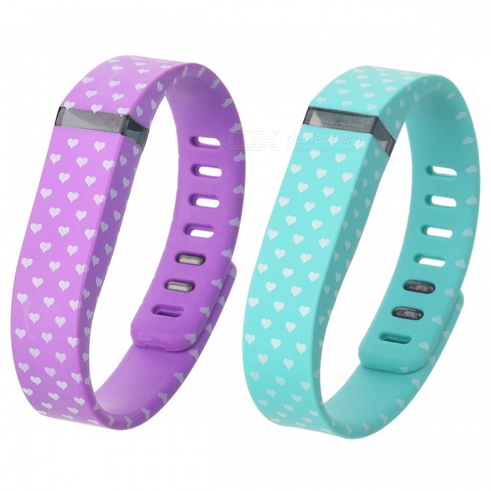 White Hearts Wrist Band for Fitbit Flex - Light Green + Orange(2PCS)