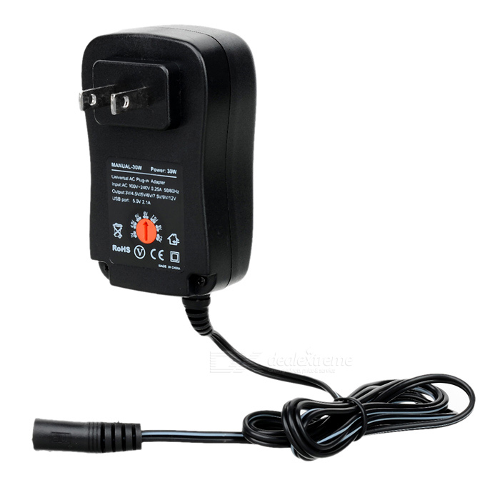 Universal Adjustable 30W 3/4.5/5/6/7.5/9/12V Power Adapter
