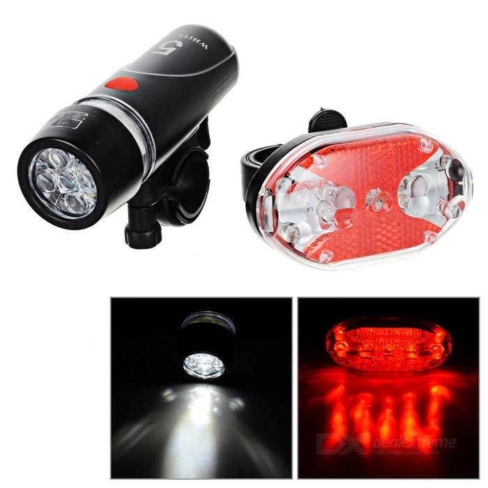 3-Mode 5-LED Bike Neutral White + 4-Mode 9-LED Tail Red Light - BlackBike Light<br>Form  ColorBlack + Red + Multi-ColoredQuantity1 DX.PCM.Model.AttributeModel.UnitMaterialABSEmitter BrandOthersLED TypeOthersEmitter BINOthersColor BINNeutral WhiteNumber of Emitters5Input Voltage6 DX.PCM.Model.AttributeModel.UnitBattery4 x AAABattery included or notNoCurrent0.1 DX.PCM.Model.AttributeModel.UnitTheoretical Lumens25 DX.PCM.Model.AttributeModel.UnitActual Lumens15 DX.PCM.Model.AttributeModel.UnitRuntime6~12 DX.PCM.Model.AttributeModel.UnitNumber of Modes3Mode ArrangementHi,Low,Slow StrobeMode MemoryNoSwitch TypeForward clickySwitch LocationHeadBeam Range25 DX.PCM.Model.AttributeModel.UnitStrap/ClipClip includedApplicationBody,Handle BarHolder Diameter20~40 DX.PCM.Model.AttributeModel.UnitWaterproofYesOther FeaturesTaillight uses 2 x AAA(not included), can continouusly work 6~10h; 4-Mode light: Steady, Fast Strobe, SOS, Loop flashPacking List1 x Headlamp1 x Taillight2 x Brackets<br>