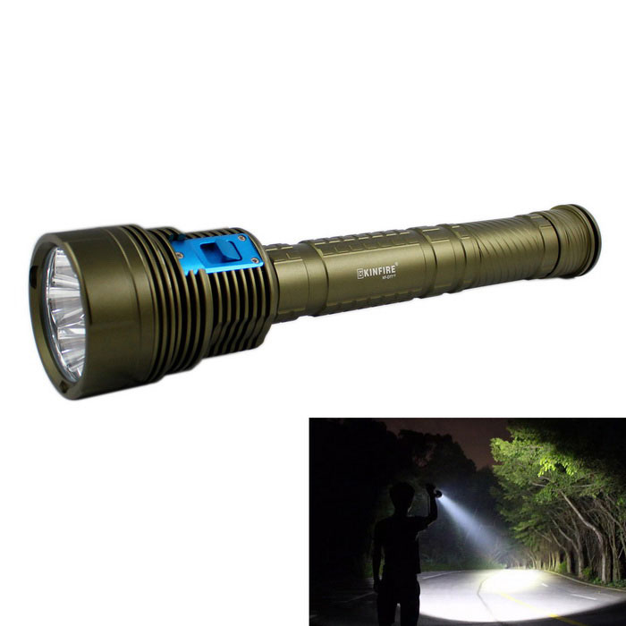 KINFIRE KF-D77 3500lm 7-LED 3-Mode Cold White Diving FlashlightDiving Flashlights<br>Form  ColorDark green + blueModelKF-D77Quantity1 DX.PCM.Model.AttributeModel.UnitMaterialAluminum alloyEmitter BrandOthers,N/ALED TypeXM-L2Emitter BINU2Color BINCold WhiteNumber of Emitters7Theoretical Lumens4200 DX.PCM.Model.AttributeModel.UnitActual Lumens3500 DX.PCM.Model.AttributeModel.UnitPower Supply2 or 3 x 18650 / 26650Working Voltage   7.2~12.6 DX.PCM.Model.AttributeModel.UnitCurrent3600~4180 DX.PCM.Model.AttributeModel.UnitRuntime3~5 DX.PCM.Model.AttributeModel.UnitNumber of Modes3Mode ArrangementHi,Mid,SOSMode MemoryNoSwitch TypeForward clickySwitch LocationHeadLens MaterialOptical lensReflectorAluminum SmoothWorking Depth Underwater120 DX.PCM.Model.AttributeModel.UnitStrap/ClipStrap includedPacking List1 x Diving flashlight 3 x Battery tubes1 x Strap (20cm)<br>