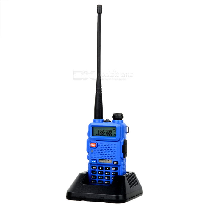 BAOFENG BF-UV5R 1.5 LCD 5W 128-CH UV Dual-Band Walkie Talkie - BlueWalkie Talkies<br>Form  ColorBlueModelBF-UV5RQuantity1 DX.PCM.Model.AttributeModel.UnitMaterialPlastic + metalFrequency Range136~174MHz, 400~520MHzChannel128Frequency Stability2.5 DX.PCM.Model.AttributeModel.UnitOutput Power5 DX.PCM.Model.AttributeModel.UnitWorking Voltage   7.4 DX.PCM.Model.AttributeModel.UnitWorking Distance3~10kmEncryptionCTCSS,DCSBattery Capacity1800 DX.PCM.Model.AttributeModel.UnitStandby Time72 DX.PCM.Model.AttributeModel.UnitWorking Time12 DX.PCM.Model.AttributeModel.UnitOther FeaturesLCD screen: 1.5Packing List1 x Walkie talkie1 x Battery1 x Antenna1 x US plug 100~240V charger (100cm-cable)1 x Charging station1 x Strap1 x Waist clip1 x English user manual1 x Data cable (98cm)1 x CD1 x Microphone1 x Car charging cable (40~130cm)1 x Earphone (100cm)<br>