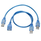 USB 2.0 Male to Female + USB 2.0 Male to Male Cables Set - Blue (2PCS)