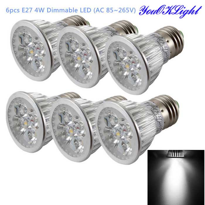 Youoklight E27 4W dimmable 4-LED Scheinwerfer kaltes weißes Licht (6PCS)