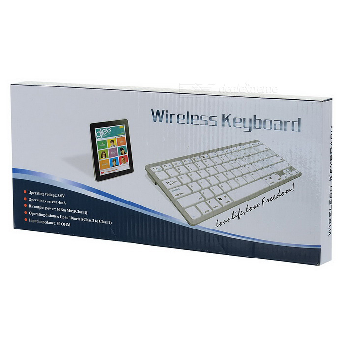 X5 Bluetooth V3.0 Keyboard w/ 78-Key for APPLE, Dell + More - White