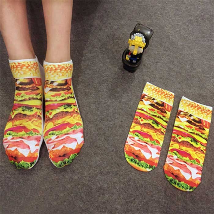 Creative Spoof Hamburger Printing Cotton Socks - Multicolored (Pair)