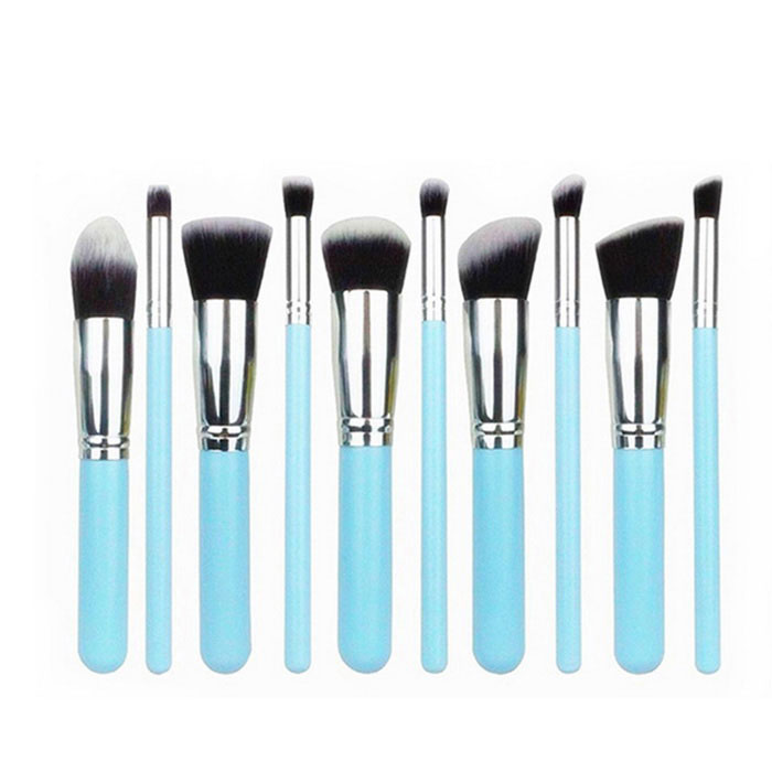 10-In-1 Cosmetic Tool Makeup Brushes Set - Light Blue + Silver
