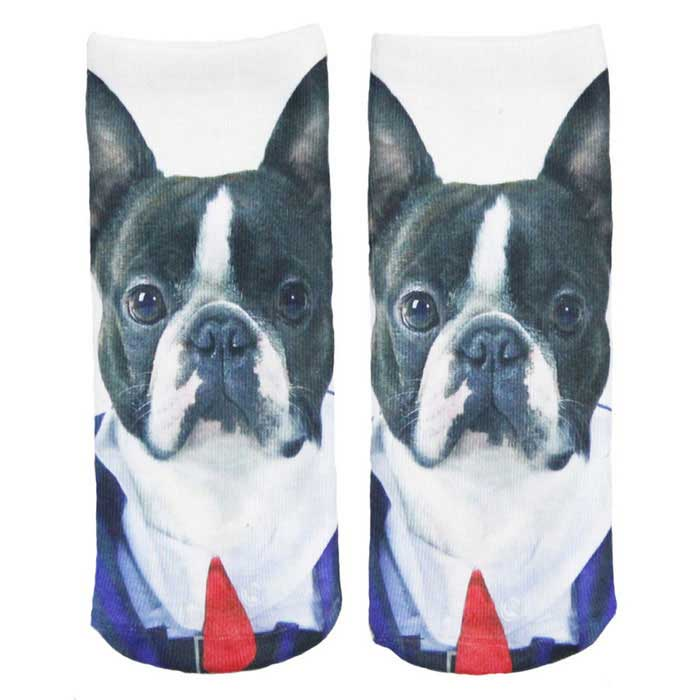 Buy Creative Spoof Fun Dog Printing Cotton Socks - White (Pair) with Litecoins with Free Shipping on Gipsybee.com