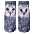 Creative Spoof Fun Owl Printing Cotton Socks - Grey (par)