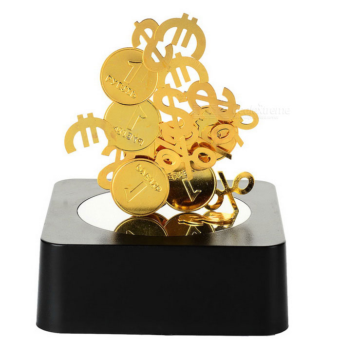 Magnetic Coins Educational Toy / Desk Decoration - Black + Golden