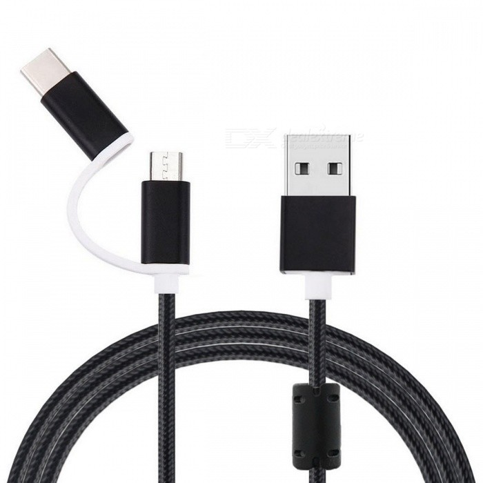 USB 3.1 Type C / Micro USB Data Charging Cable - Black (1m)